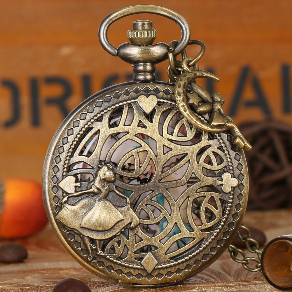 Bronze Lovely Princess Pocket Watch Beautiful Faery With Small Pendant Antique Clock Xmas Gifts For Women Girl Reloj Mujer