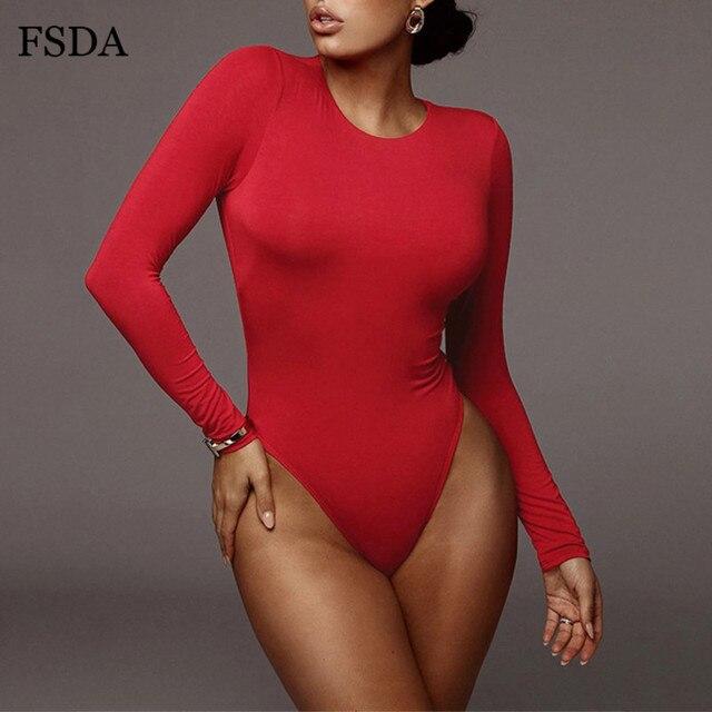 FSDA O Neck Long Sleeve Solid White Sexy Bodysuit Women Black Autumn Winter Body Top Gray Casual Lady Streetwear Bodysuits 8