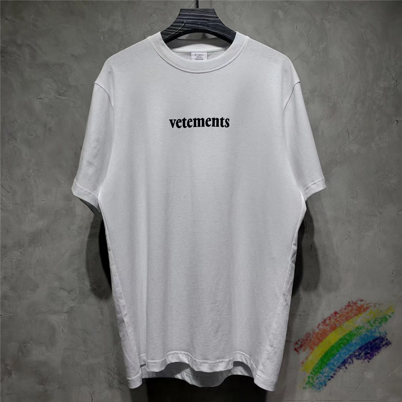 2020ss Vetements T Shirt Men Wome Short Sleeve Big Tag Casual Embroidery Vetements Tees Black White T-shirts