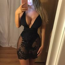 Fashion Women Low-cut Backless Lace Sexy Buttocks Casual Mini Dress Sundress Clothes 2020 Платья Женские(China)