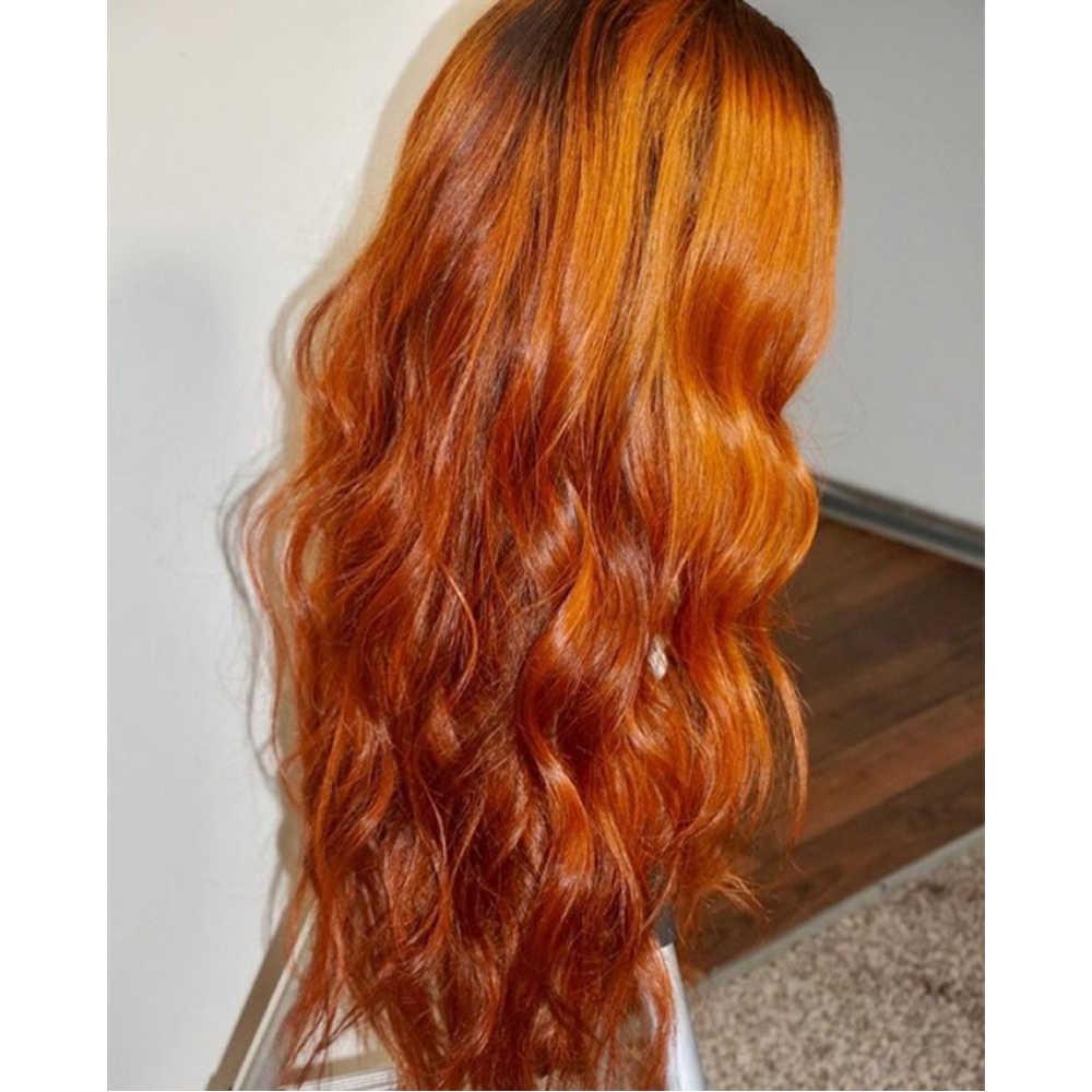 أومبير البرتقال باروكة من شعر طبيعي كامل الدانتيل الباروكات مع وهمية فروة الرأس الطبيعية موجة لينة الشعر ابيض عقدة غلويليس شعر مستعار مع شعر الطفل