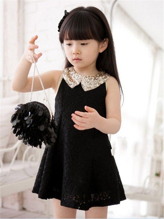 Розничная, высокое качество, новое летнее кружевное стильное платье принцессы с цветочным узором для девочек детская одежда - Цвет: Черный