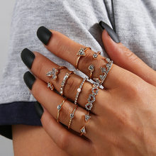 10 Pçs/set Boho Knuckle Anéis Coroa coração oco Flores Geométricas Anéis Set Para As Mulheres Da Moda Jóias de Cristal Feminino Anel Conjunta