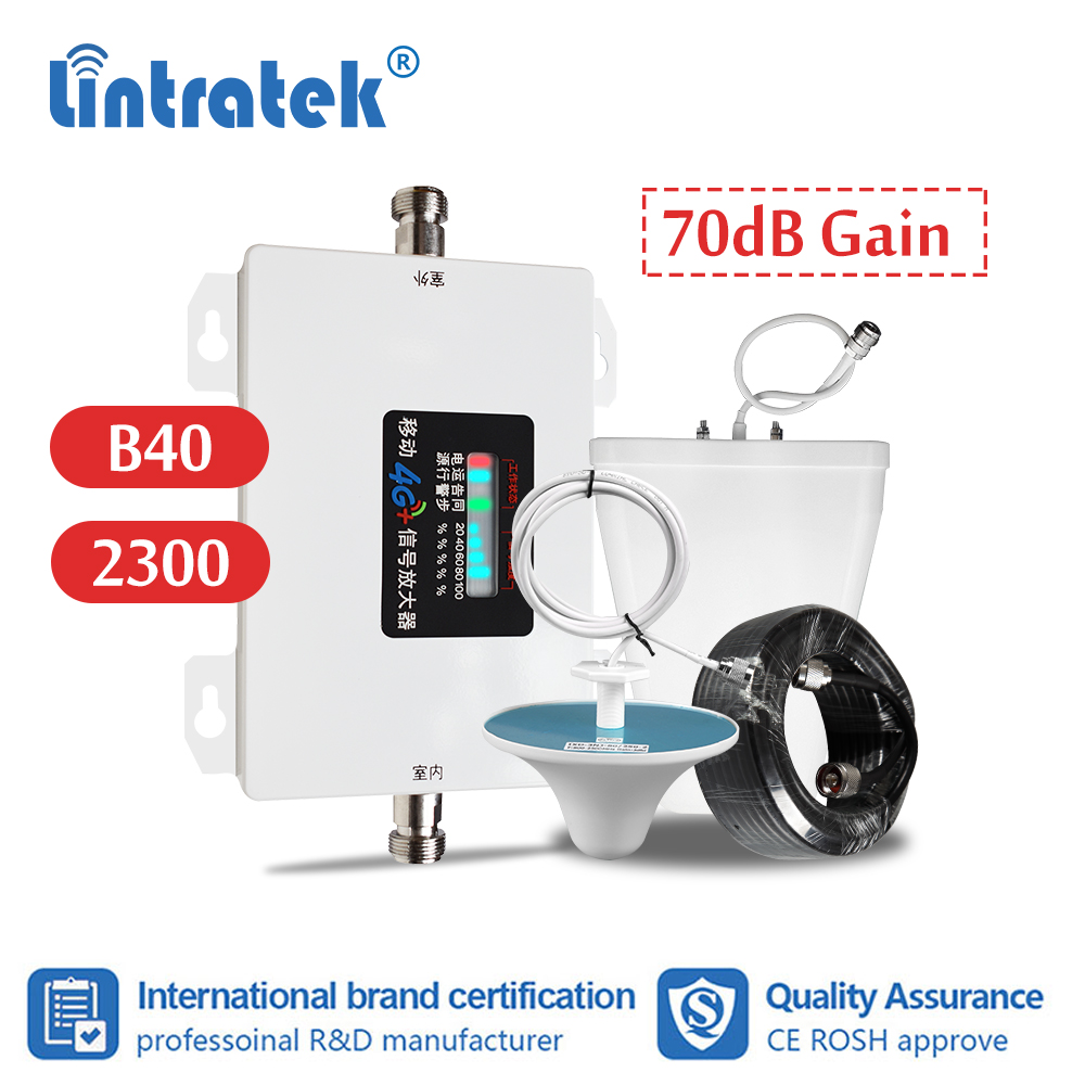 Lintratek LTE 4G 2300mhz B40 Cell Phone Signal Amplifier 70db TDD 2300 4g Internet Cellular Booster Repeater LPDA Celling Set S9