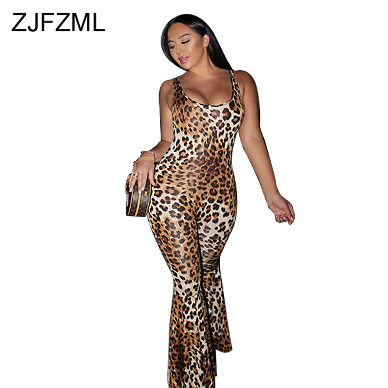 Sexy Leopard One Piece Flare Jumpsuit For Women Spaghetti Strap Open Back Skinny Overall Summer Scoop Neck Bandage Club Playsuit