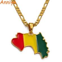 Anniyo guiné mapa & bandeira pingente colares para mulher/homem cor de ouro jóias mapa da guiné colares guiné #116706