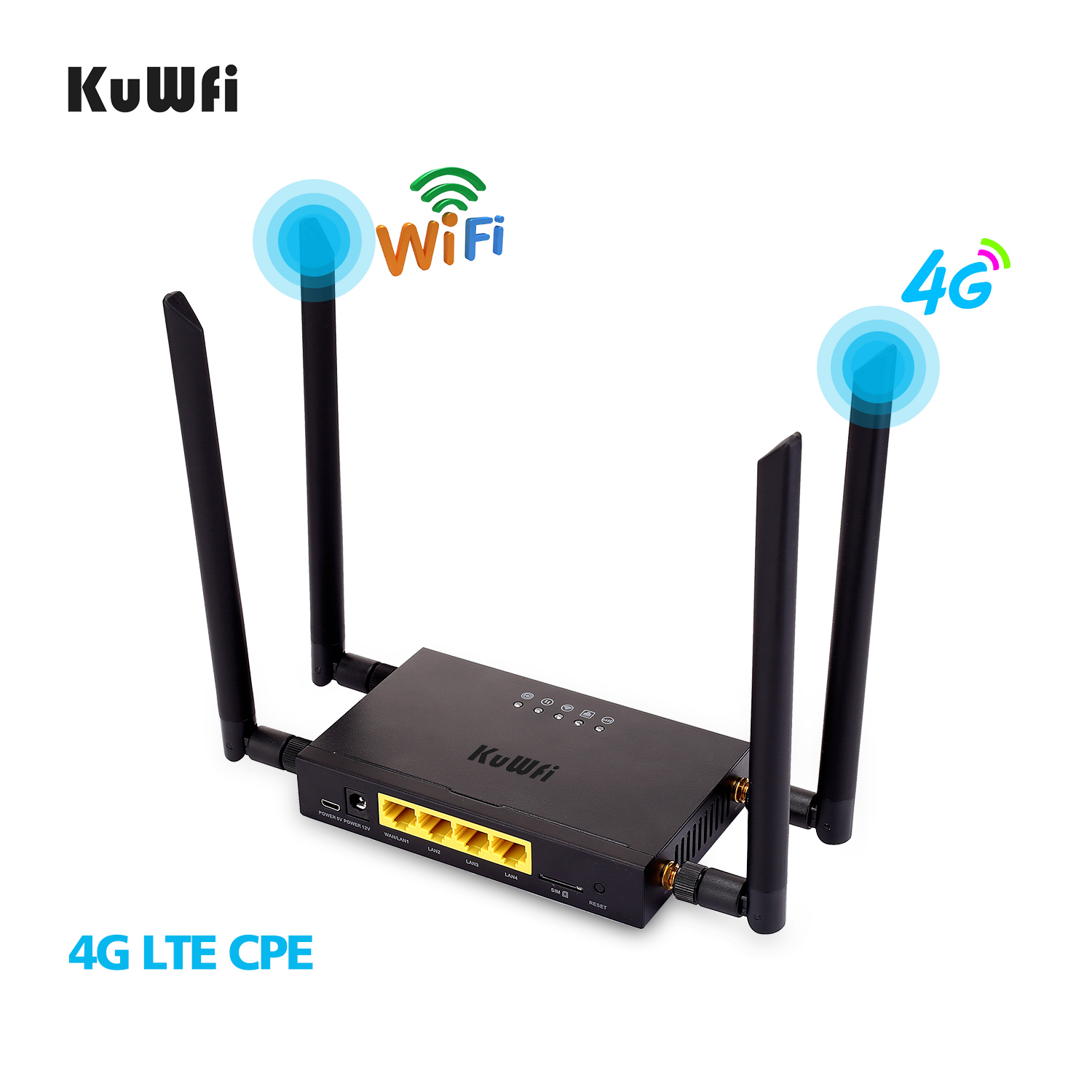 KuWFi 4G LTE WiFi Wireless Router 300Mbps Cat 4 High Speed Wifi CPE With SIM Card Slot And 4pcs External Antennas UP To 32 Users