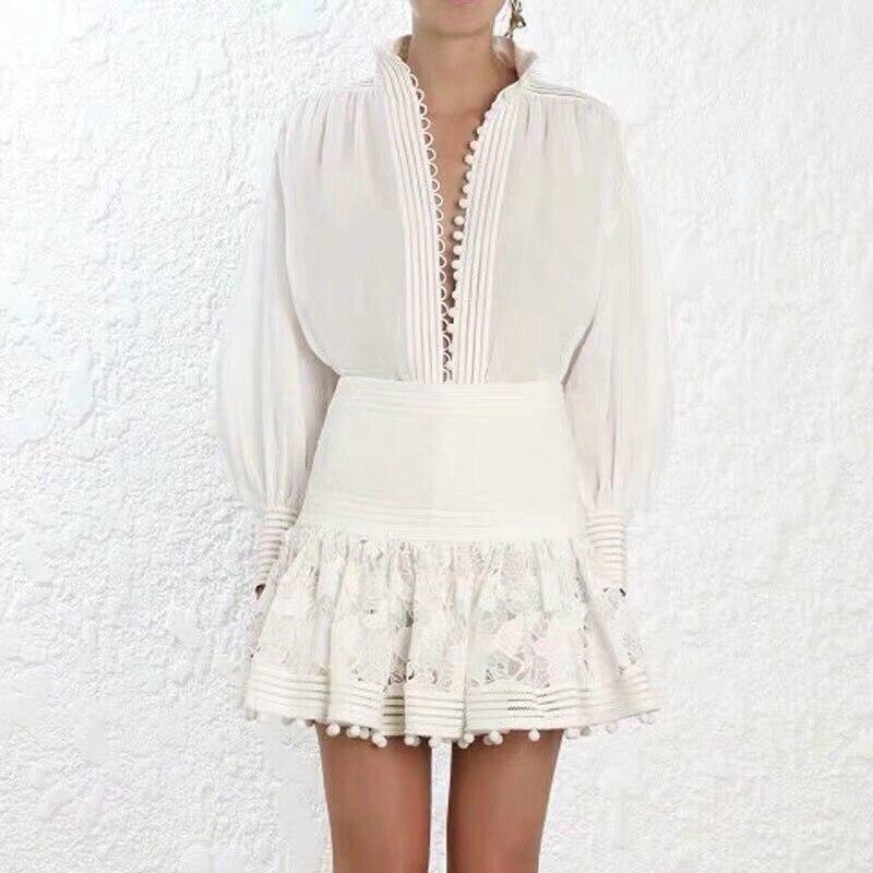 Automne piste Designer hauts 2019 simple boutonnage lâche décontracté blanc coton Blouses femmes à manches longues chemise - 6