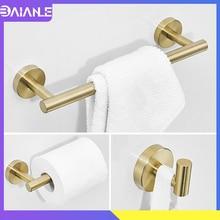 Towel Bar Set Stainless Steel Towel Rack Hanging Holder Toilet Paper Holder Wall Mounted Bathroom Hook for Towels Key Coat Rack стоимость