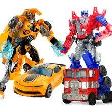 Najlepsza sprzedaż 19cm duże plastikowe edukacyjne Robot transformacyjny figurka zbierać dla dzieci chłopców zdeformowany samochód Model prezent