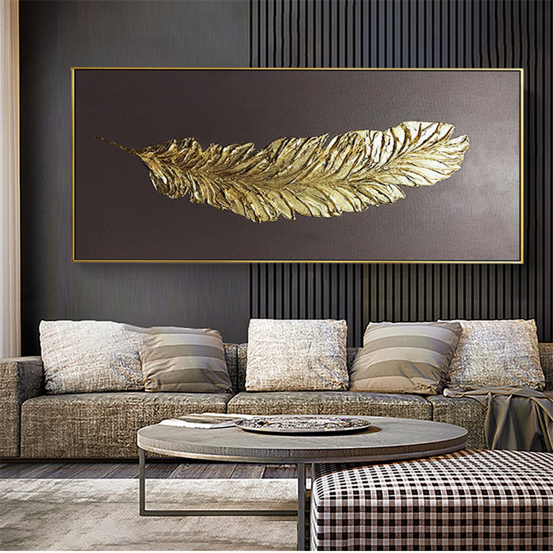 Golden Feather Modern Abstract 3D Canvas Painting On Home Wall Art Wall Chart Decoration Picture Oil Painting