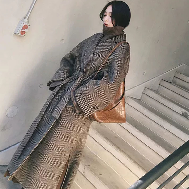 Women Wool Coat Plaid Women Jacket Loose Long  Breasted Woolen Coat Winter Coat Woolen Overcoat