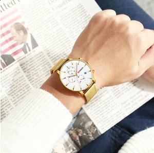 Image 5 - CURREN 메쉬 스트랩 스테인레스 스틸 쿼츠 시계 남성 캐주얼 남성 시계 크로노 그래프 및 자동 날짜 손목 시계 Reloj Hombre