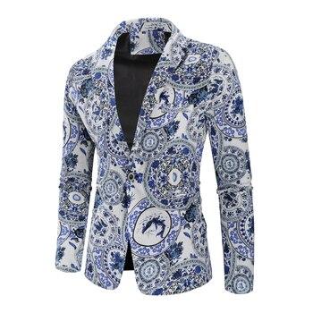 Mens Cotton Linen Blazers Men Suits African Print Casual Slim Fit Jacket Men Suit Terno Masculino Blazers Hombre