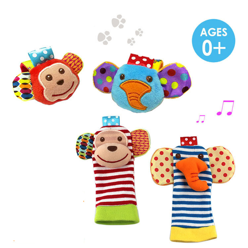 4PCS/LOT Baby Toy  Rattles Toys Animal Socks Wrist Strap With Rattle  Foot  Bug   WJ315