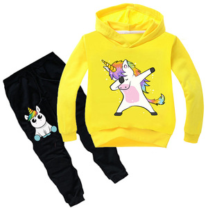 Image 2 - Kids Clothing Sets Cartoon unicorn Outffits  Clothes Suits Baby Boys Girls Hoodie full sleeve T shirt Pants Sport Clothing Sets