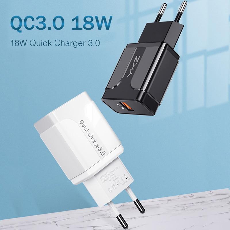 YKZ мобильный телефон зарядное устройство Быстрая зарядка QC 3,0 4,0 18 Вт Быстрая зарядка EU US штепсельная вилка адаптер настенное USB зарядное уст...