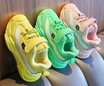 Boys Sport Shoes Sneakers Fur Winter Girls Tennis Shoes Kids Footwear Toddler Bright Green Chaussure Zapato Casual SandQBaby New children canvas shoes boys sneakers girls tennis shoes kids footwear toddler autumn spring chaussure zapato casual sandq baby