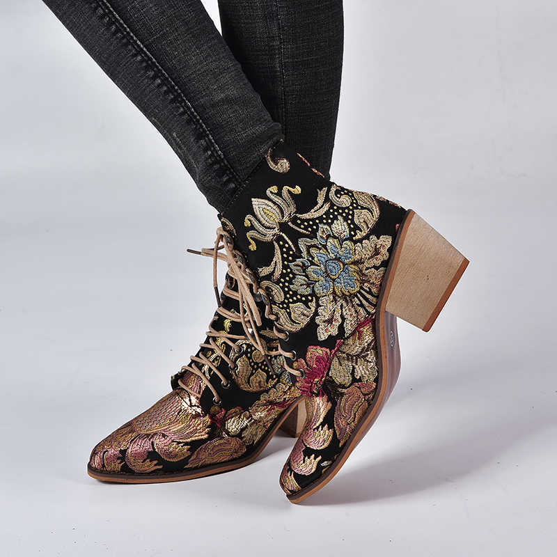 HEFLASHOR 2019 ฤดูใบไม้ผลิ Retro ผู้หญิงเย็บปักถักร้อยดอกไม้สั้น Lady Elegant Lace Up รองเท้าข้อเท้าหญิง Chunky Botas Mujer