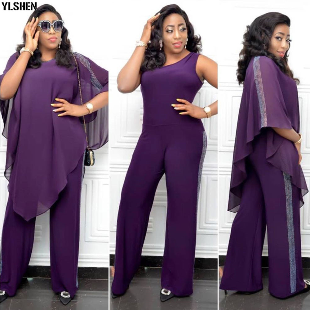African Jumpsuit Set Dresses For Women Sequined African Clothes New Dashiki Elastic Bazin Baggy Pants Cloak Famous Suit For Lady 02