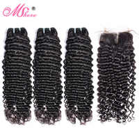 Deep Wave Human Hair Bundles With Closure Peruvian non Remy Hair Weave Extensions 3 Bundles With Lace Closure Mshere Hair