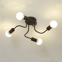 20W LED Ceiling Light Loft Nordic Pipe Wrought Iron Ceiling Light 4 Heads Lamp Home Decor Dinning Cafe Bar Room 85 265V