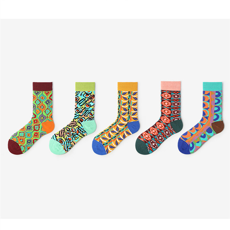 New Color Matching Cartoon Personality Creative Jacquard Tide Socks Fashion Fun Ladies Cotton