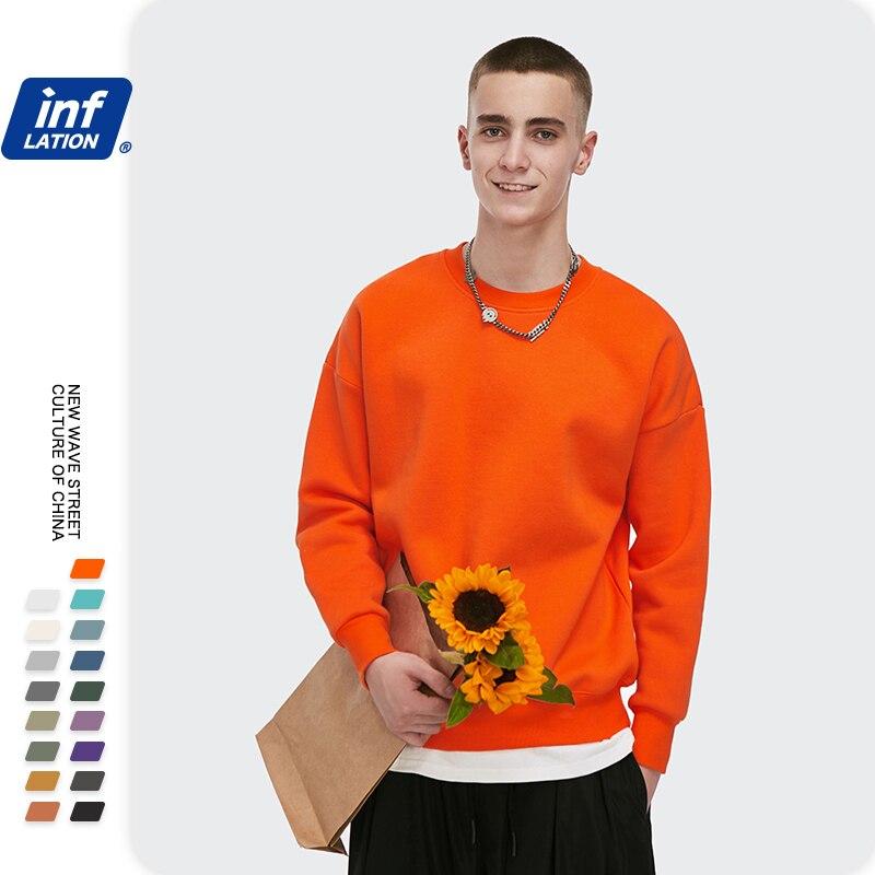 INFLATION Winter Mens Hip Hop Multi-colour Hoodies Velvet Fabrics Fleece Sweatshirts 8 Solid Color Winter Men Sweatshirts 166W17 3