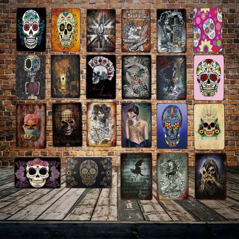 [ WellCraft ] Sugar Skull Metal Plaque Wall Tin Signs Posters art Vintage Painting Personality Custom Bar  Decor  LT-1807