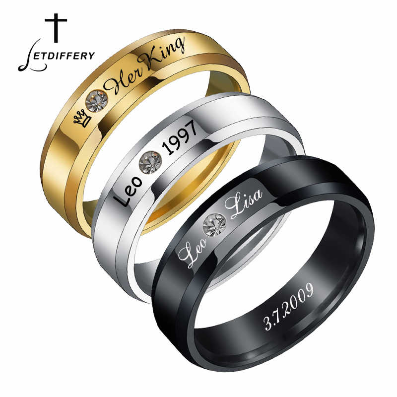 Letdiffery ส่วนบุคคลแหวน Cubic Zirconia แหวนสแตนเลสแกะสลักของคุณชื่อวันเกิดผู้ชายผู้หญิงเครื่องประดับ