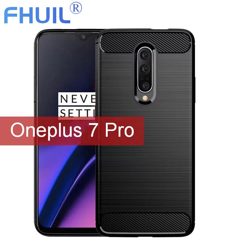 Silicone Tpu Phone Case For Oneplus 7 pro Carbon Fiber Bumper Shockproof Cover Cases soft black tpu phone case