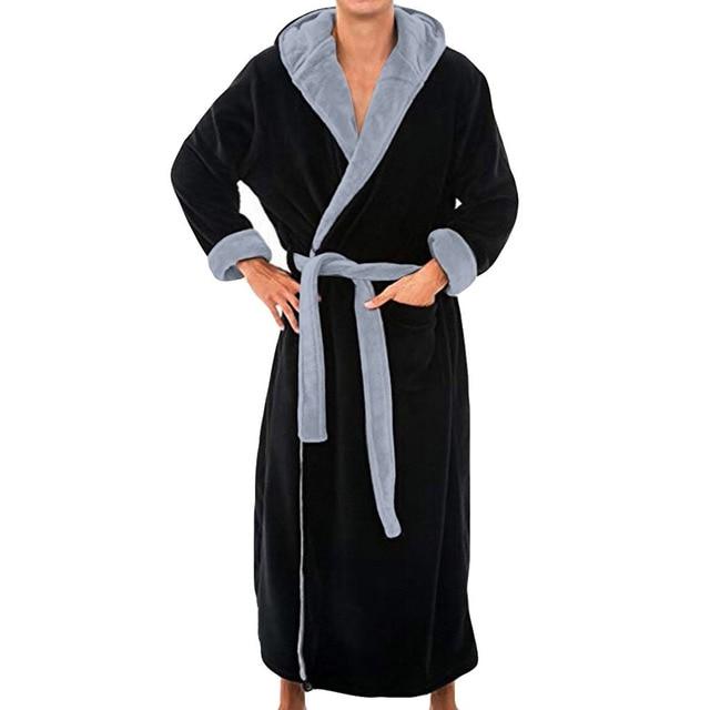 Mens Hooded Flannel Bathrobe 1
