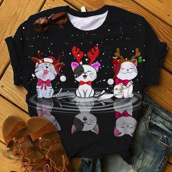 Women 2020 T-shirts Merry Christmas Happy New Years 3d Summer Shirt Ladies Womens Top T Graphic Female Tee T-Shirt