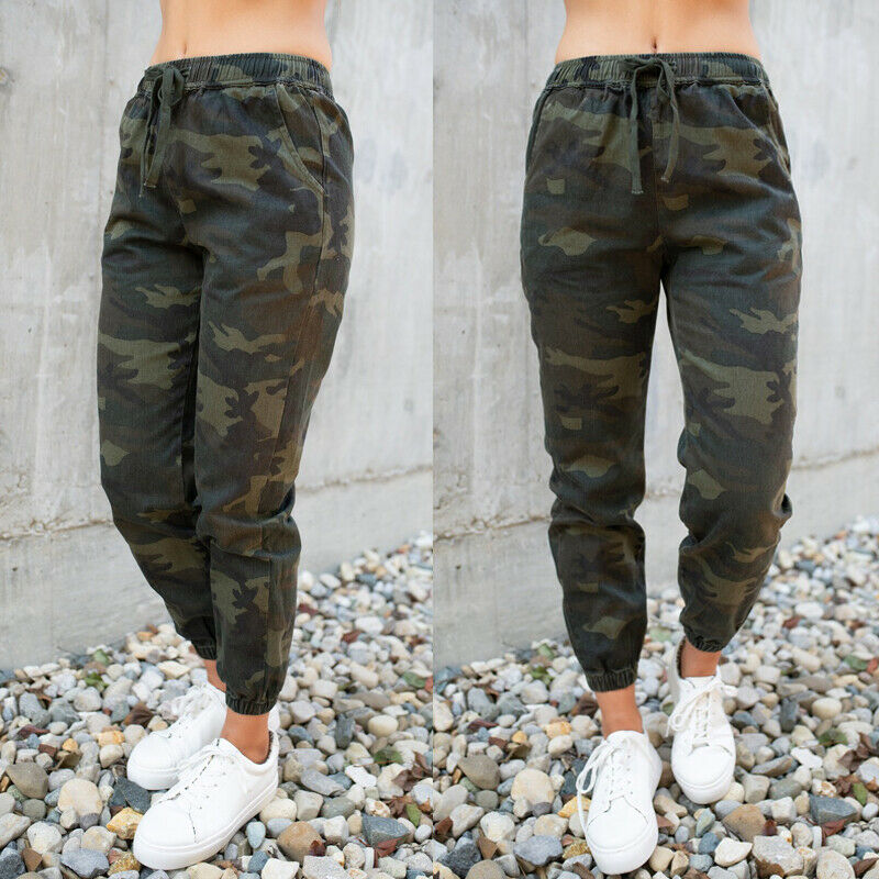 Fashion Womens Camo Cargo Trousers Casual Pants Military Army Combat Camouflage Print Ladies Pockets Elastic Hight Waist Pants