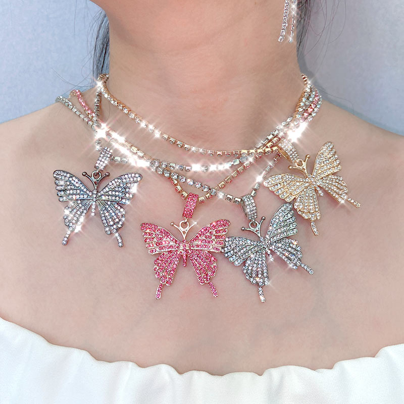 Flatfoosie New Bling Crystal Butterfly Pendant Necklace for Women Rock Fashion Four...