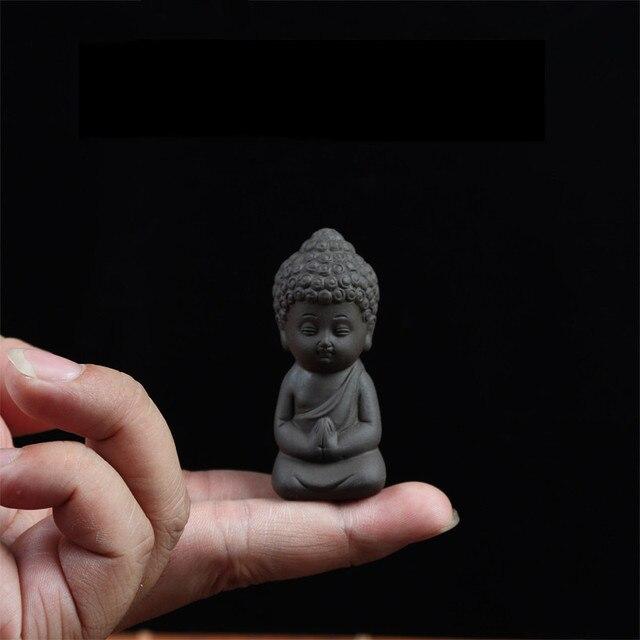 Mini akcesoria ogrodowe posąg buddy herbata Pet ceramiczne figurki Feng Shui rzeźba medytacja miniatury Zen dekoracje do przydomowego ogrodu