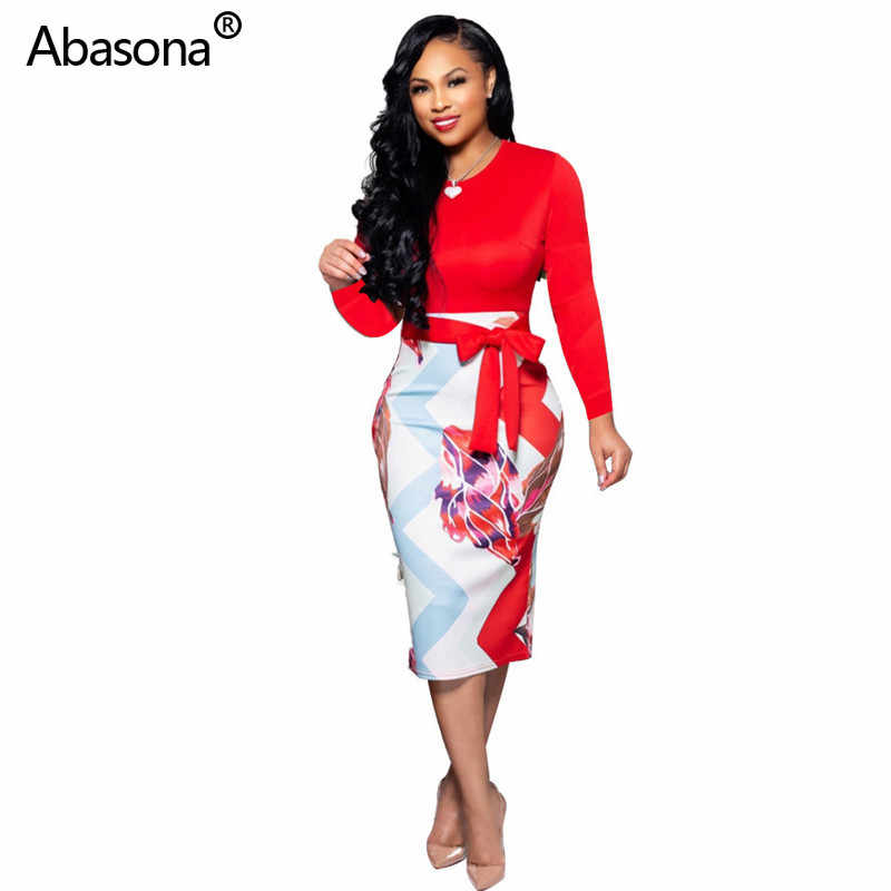 2019 New Full Sleeve Colorful Printed O-neck Pullover Mid-calf Pencil Dress with Sash Fashion Sexy Dress for Party Club Church