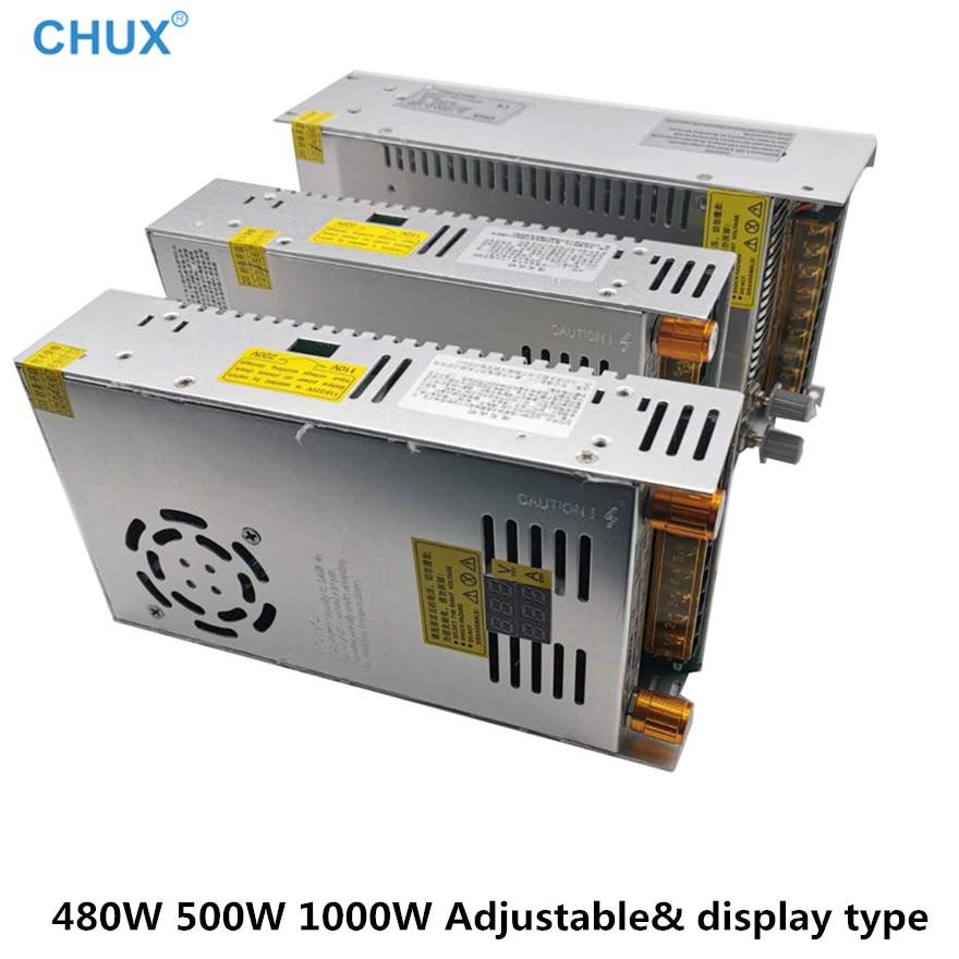 Регулируемый импульсный источник питания 480 Вт, 500 Вт, 1000 Вт, цифровой дисплей, 5 В, 12 В, 24 В, 30 В, 48 В, преобразователь переменного тока 80 в, 120 В, 220...