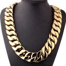 Mens Big Gold Chains Punk Supersize 316L Stainless Steel Necklaces Hip Hop Rapper Jewelry Street Dance Hipster Plus Chains(China)