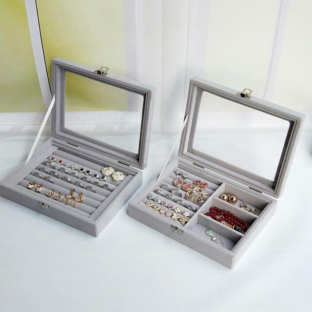 Hot Sales Fashion Portable Velvet Jewelry Ring Jewelry Display Organizer Box Tray Holder Earring Jewelry Storage Case Showcase 2