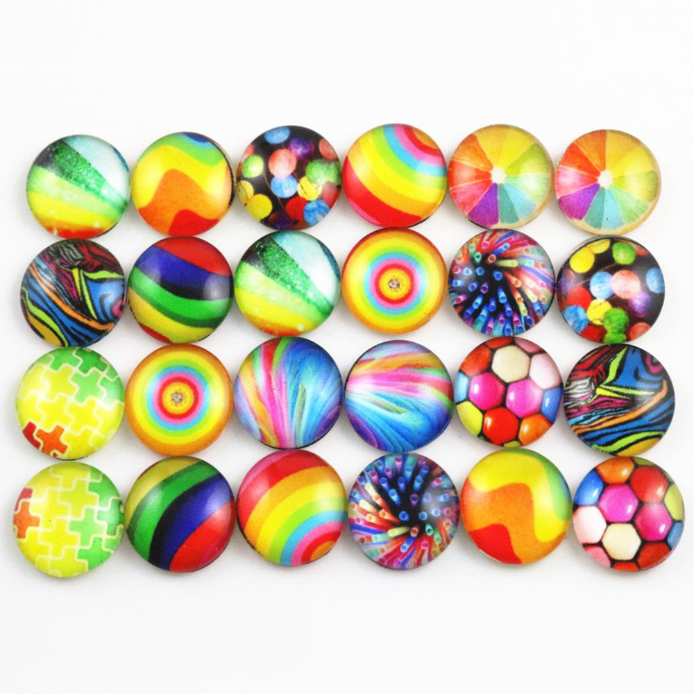 50pcs/Lot 12mm 10mm Photo Glass Cabochons Mixed Handmade Cabochons For Handmade Bracelet Earrings Necklace Bases Settings