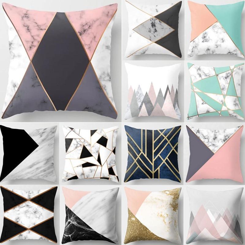 Gray Geometric Marble Sofa Decorative Cushion Cover Pillow Pillowcase Polyester 45*45 Throw Pillow Home Decor Pillowcover 40507