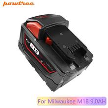 цена на Powtree For Milwaukee M18 9000mAh 18V M18 Power Tools Rechargeable Li-ion Battery Replacement 48-11-1815 48-11-1850 48-11-1840