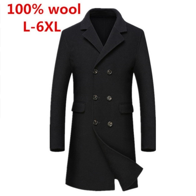 New Autumn Winter Double Breasted Long 100%wool Cashmere Coat Men Windbreaker Casual Fashion High Quality Plus Size L-6XL