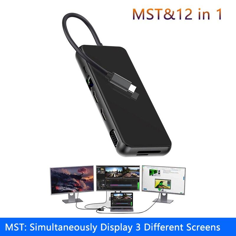 Station d'accueil pour ordinateur portable MST, USB 3.0 VGA RJ45 PD, Hub compatible HDMI pour Macbook Pro HP DELL Surface Lenovo Dock