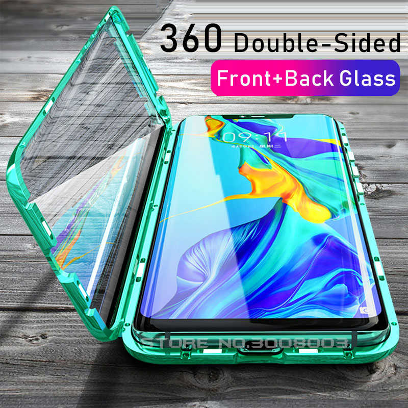 Magnetic Double Glass Case For Huawei Hauwei Hawei P30 Pro P 30 Lite 30Lite Light Lait 30Light Tempered Glass 360° Full Cover