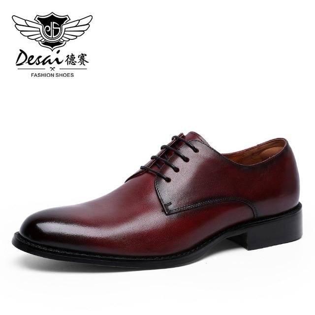 Desai couro genuíno vermelho sapatos masculinos sapatos de negócios para homem marca calçados masculinos sapatos casuais clássico 2019