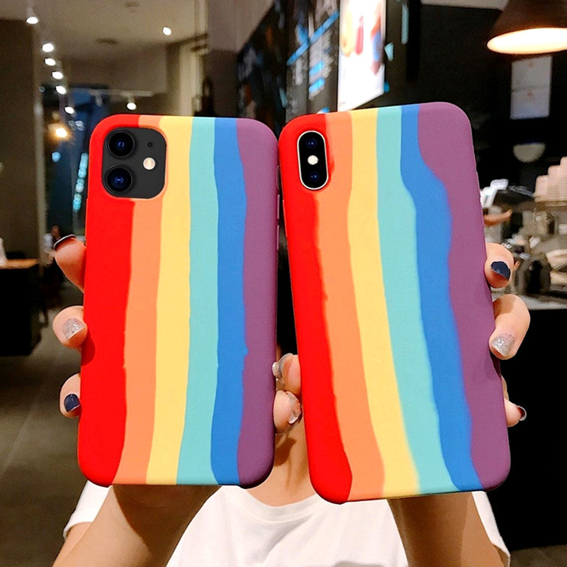 With LOGO Rainbow Silicone Liquid Phone Case For Iphone 7 8 Plus XR X XS Max SE 2020 Case For Iphone 11 Pro Max Case Cover