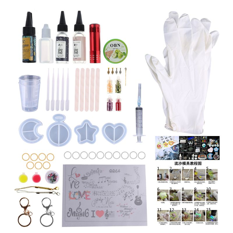 DIY Crystal Epoxy Quicksand Pendant Mold Combination A/B Glue Glitter Pigments With Gloves Jewelry Making Accessories Tools Kits