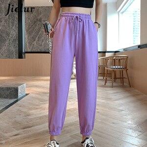 Jielur Candy Color Orange Pink Gray Sports Pants Female Street Leisure BF Harajuku Harem Pants S-XL 2020 Autumn Women Sweatpants